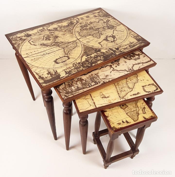 Conjunto de 4 mesas nido con mapamundi madera comprar for Mesa cristal mapamundi