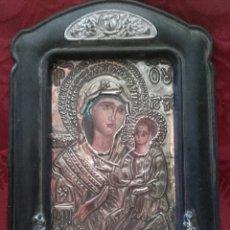 Antigüedades: ICONO BIZANTINO DE PLATA CON MARCO.. Lote 91468663