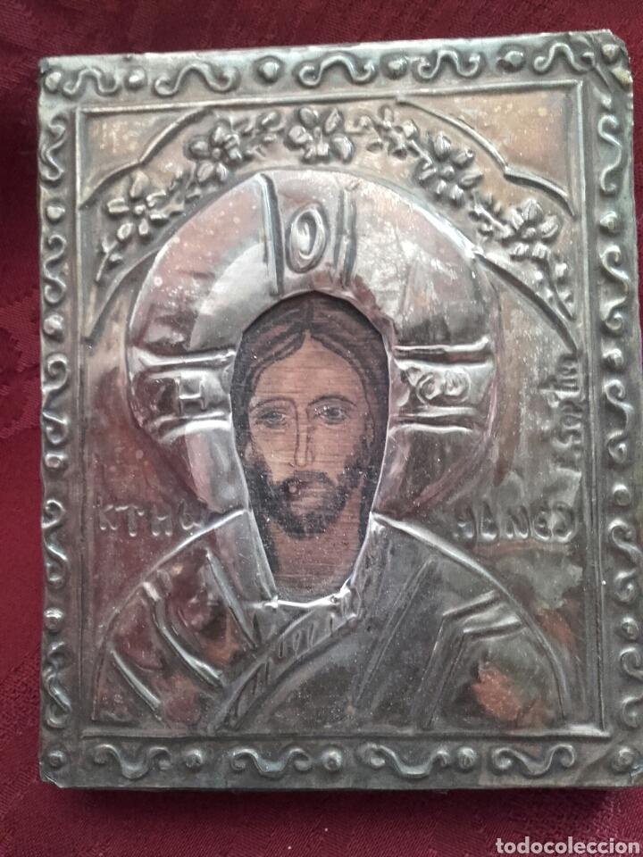 PEQUEÑO ICONO BIZANTINO DE PLATA (Antigüedades - Religiosas - Orfebrería Antigua)