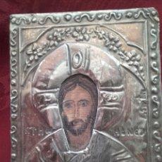 Antigüedades: PEQUEÑO ICONO BIZANTINO DE PLATA. Lote 91470762