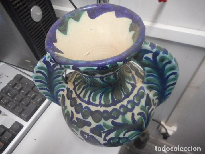 Antigüedades: jarron porcelana o ceramica fajalauza muy buen estado dificil forma - Foto 2 - 101027032