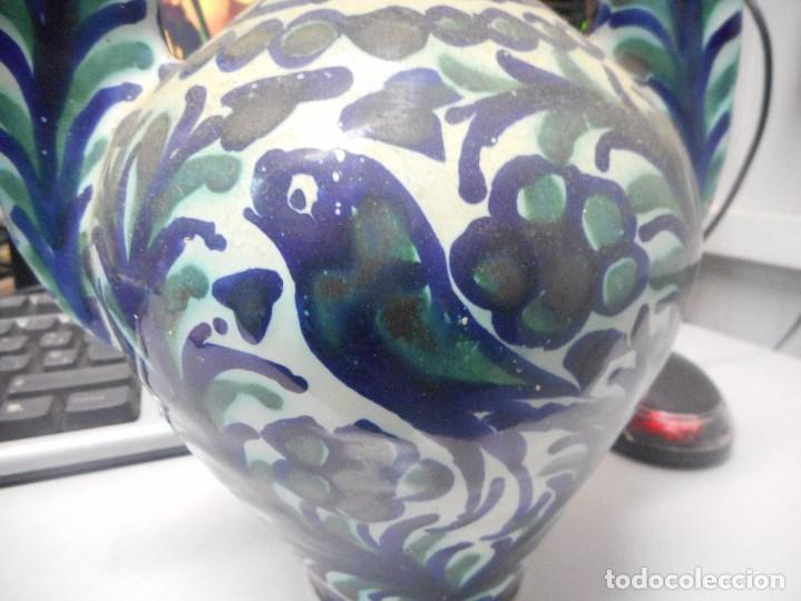 Antigüedades: jarron porcelana o ceramica fajalauza muy buen estado dificil forma - Foto 6 - 101027032