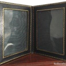 Antigüedades: PORTAFOTO DOBLE DE PIEL. Lote 91638413