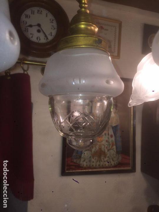 Antigüedades: Antigua lámpara de latón modernista con tulipas de cristal de 3 brazos de los años 20-30 - Foto 9 - 91642015