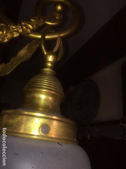 Antigüedades: Antigua lámpara de latón modernista con tulipas de cristal de 3 brazos de los años 20-30 - Foto 11 - 91642015
