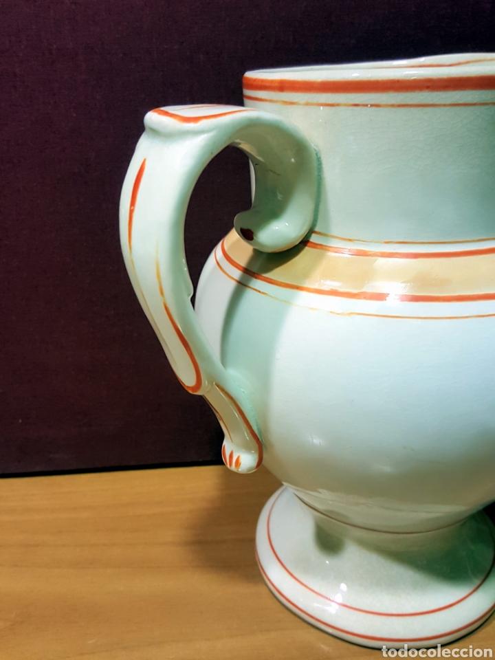 Antigüedades: Bonita jarra de cerámica Mariano Pola y Cia, Gijón. Serie rayado naranja. Perfecto estado. - Foto 2 - 91660769
