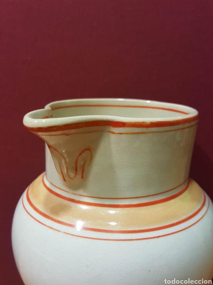 Antigüedades: Bonita jarra de cerámica Mariano Pola y Cia, Gijón. Serie rayado naranja. Perfecto estado. - Foto 3 - 91660769