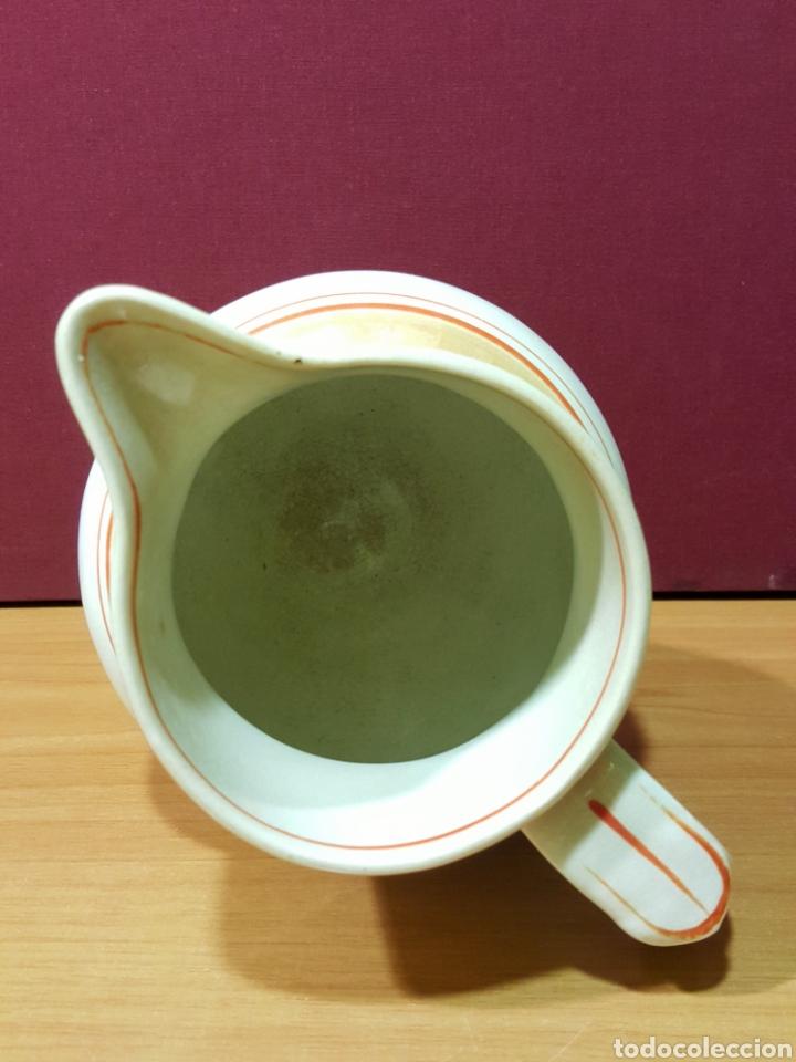 Antigüedades: Bonita jarra de cerámica Mariano Pola y Cia, Gijón. Serie rayado naranja. Perfecto estado. - Foto 4 - 91660769