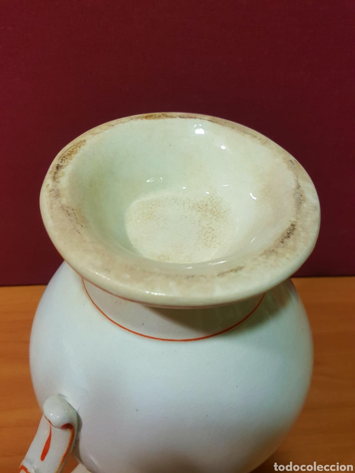 Antigüedades: Bonita jarra de cerámica Mariano Pola y Cia, Gijón. Serie rayado naranja. Perfecto estado. - Foto 5 - 91660769