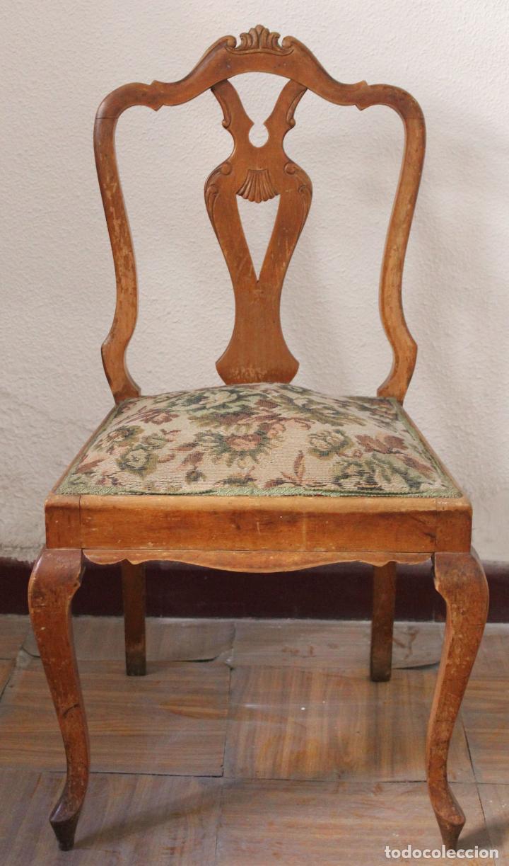 Antigua silla de madera con patas cabriol de m comprar for Baneras antiguas con patas baratas