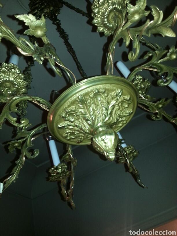 Antigüedades: Lampara de techo en bronce - Foto 3 - 91715078
