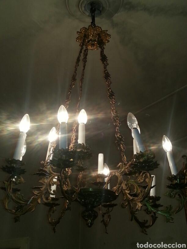 Antigüedades: Lampara de techo en bronce - Foto 6 - 91715078