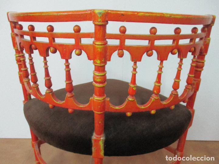 Antigüedades: Antigua Pareja de Sillas Rinconeras - Sillones - Madera Torneada y Policromada - Principios S. XIX - Foto 5 - 91731935