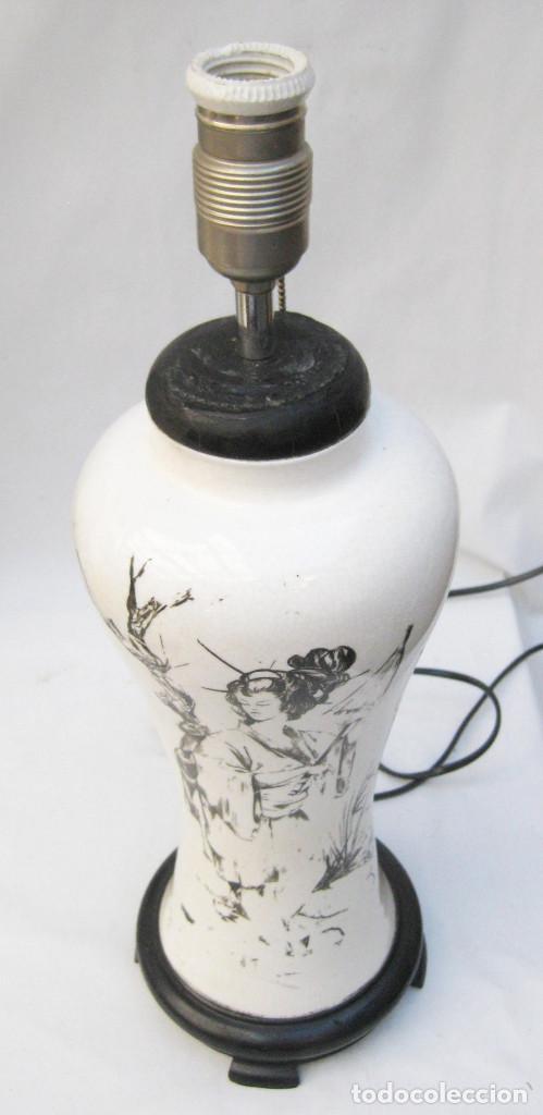 Antigüedades: ELEGANTE LAMPARA ANTIGUA EN CERAMICA Y MADERA CON ESCENA DE CHINA O JAPONESA PINTADA A MANO - Foto 6 - 91860210
