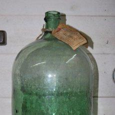 Antigüedades: FRASCA DE CRISTAL VERDE DE FARMACIA - ALCOHOL - 10 LITROS - GARRAFA - DAMAJUANA - S.XIX. Lote 91861400