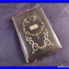 Antigüedades: TARJETERO AGENDA CON MARQUETERIA METALICA S. XIX. Lote 91857755