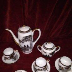 Antigüedades: JUEGO DE CAFE TE JAPONES DE FINA PORCELANA CHINA HAYASI KUTANI CON CARA DE GEISHA. Lote 91889815