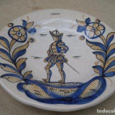 Antigüedades: PLATO EN CERAMICA VIDRIADA Y PINTADA DE TALAVERA DE LA REINA ( TOLEDO ). Lote 91914790