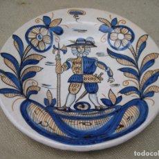 Antigüedades: PLATO EN CERAMICA VIDRIADA Y PINTADA DE TALAVERA DE LA REINA ( TOLEDO ) SERIE TRICOLOR.. Lote 91915605