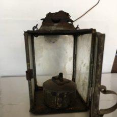Antigüedades: FAROL EN HOJALATA Y CRISTAL DE FINALES DEL SIGLO XIX. Lote 91938958