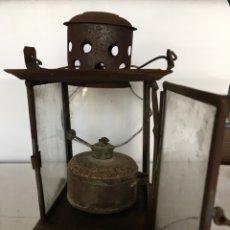 Antigüedades: FAROL ANTIGUO EN HOJALATA Y CRISTAL DE FINALES DEL SIGLO XIX. Lote 91939275