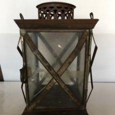 Antigüedades: FAROL EN HOJALATA Y CRISTAL DE FINALES DEL SIGLO XIX. Lote 91939525