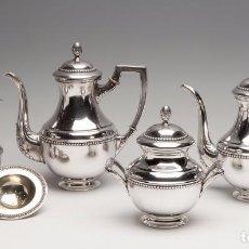 Antigüedades: JUEGO DE CAFÉ Y TÉ; ESPAÑA, PRINCIPIOS DEL SIGLO XX. PLATA DE LEY 916, CON CONTRASTES.. Lote 91941975