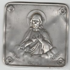 Antigüedades: ANTIGUO CARTEL DE ALUMINIO-VENGA A NOS EL TU REINO. Lote 91960245