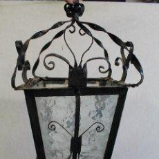 Antigüedades: LAMPARA FAROL EN HIERRO DE FORJA CON CRISTALES. Lote 91980015