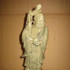 Antigüedades: FIGURA CHINA DE CONFUCIO EN PIEDRA 24 CM. Lote 91993115