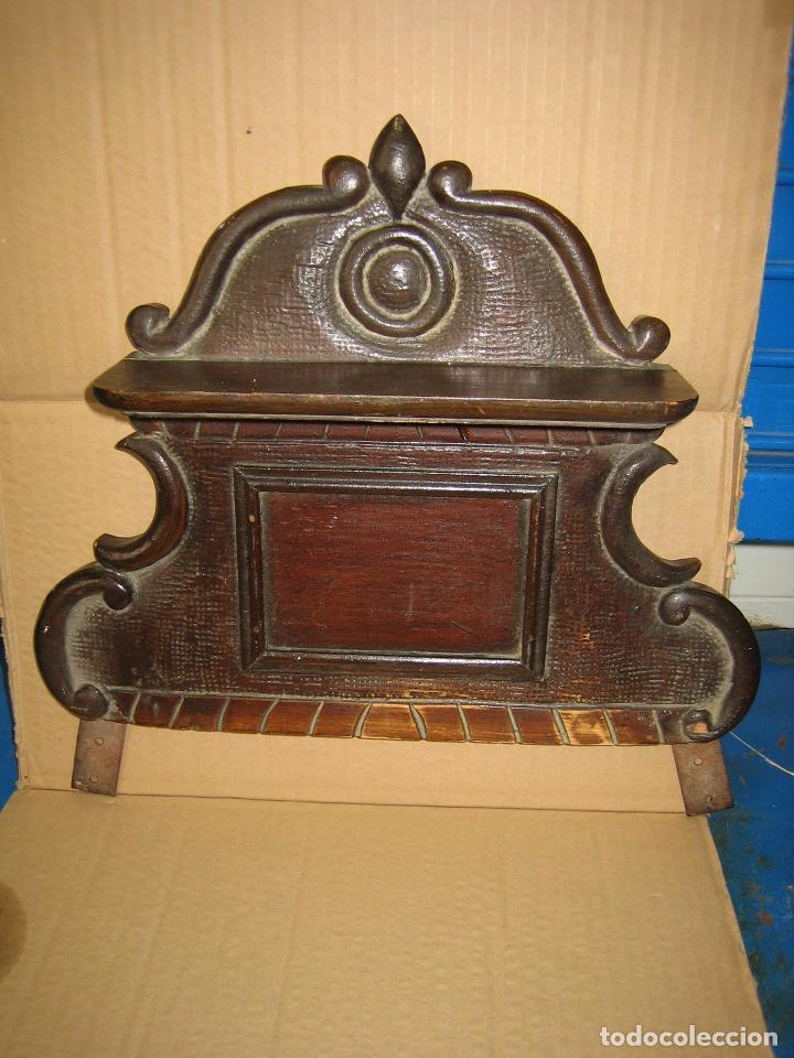 Antigüedades: Antiguo terminal de madera. Medidas 37 x 38 cm - Foto 5 - 91993345