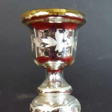 Antigüedades: CANDELABRO EN METAL PLATEADO. MOTIVOS FLORALES. ESTAMPADOS AL ÁCIDO. SIGLO XX. . Lote 92009050