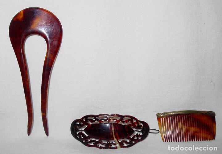 LOTE 3 PEINETAS DE PASTA. CIRCA 1940-50 (Antigüedades - Moda - Peinetas Antiguas)