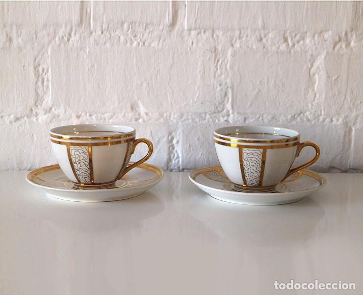 Antigüedades: Juego de 2 tazas y platos de porcelana - dorado y blanco - taza de té - Foto 2 - 92045255