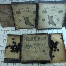 Antigüedades: (TC-13) IMPRESIONANTES CAJAS DE OEILLETS BOUTONS PARA PASAR EL CORDON NUEVOS VER FOTOS. Lote 92045985