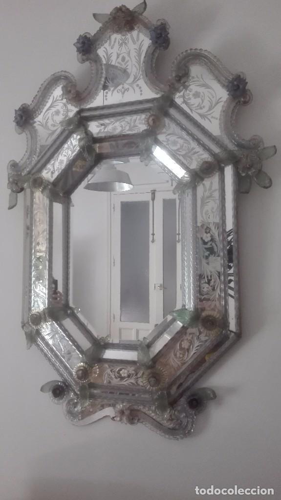 Dos espejo veneciano murano pareja antiguos s x comprar - Espejo veneciano antiguo ...