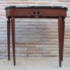 Antigüedades: MESITA-CONSOLA ANTIGUA CON TAPA DE MARMOL.. Lote 92153865