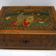 Antigüedades: C. 1920 - BELLA CAJA DE PINTOR EN MADERA CON PINTURA EN TAPA CHINA - ORIGINAL MODERNISTA . Lote 92220045