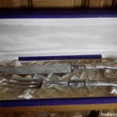 Antigüedades: JUEGO DE CUCHILLO Y TENEDOR TRINCHEROS DE PLATA. Lote 92244292