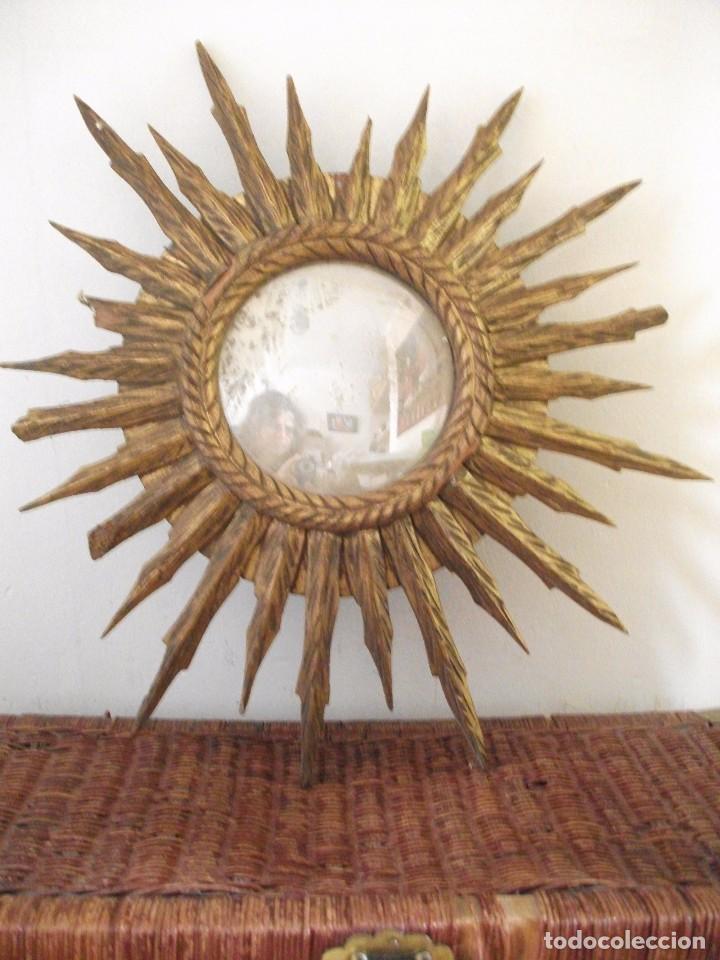 Espejo de madera tallada en forma de sol comprar for Espejos en forma de sol