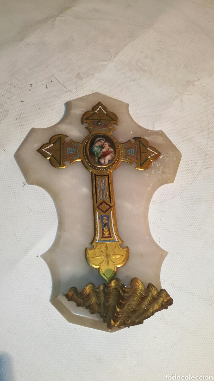BENDITERA CON VIRGEN DE LA SILLA (Antigüedades - Religiosas - Benditeras)