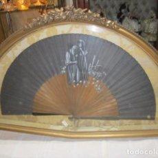 Antigüedades: ABANIQUERA DEL S. XIX, CON ABANICO PINTADO A MANO.. Lote 92346155