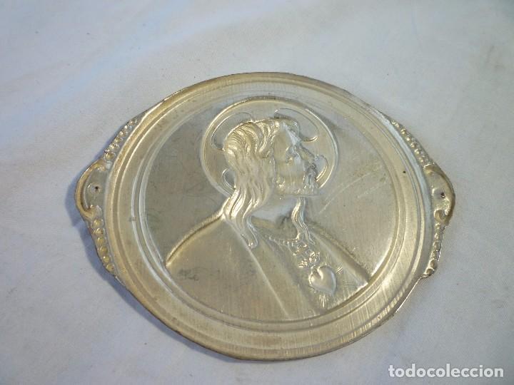 Antigüedades: LOTE DE DOS SAGRADOS CORAZÓN ANTIGUOS NO USADOS PARA PONER EN PUERTA DE LA CASA EN NIQUEL - Foto 4 - 96188743