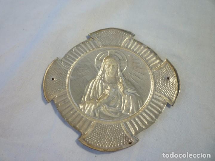 Antigüedades: LOTE DE DOS SAGRADOS CORAZÓN ANTIGUOS NO USADOS PARA PONER EN PUERTA DE LA CASA EN NIQUEL - Foto 5 - 96188743