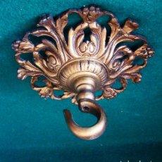 Antigüedades: FLORON DE BRONCE DORADO ANTIGUO. PARA COLGAR LAMPARA. . DIAMETRO 13 CM.. Lote 112651563