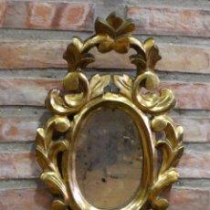 Antigüedades: CORNUCOPIA ANTIGUA DE MADERA CON PAN DE ORO CON ESPEJO. Lote 92703345