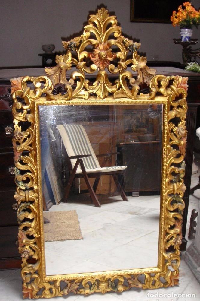 Espejo dorado antiguo tallado en madera comprar - Espejo veneciano antiguo ...