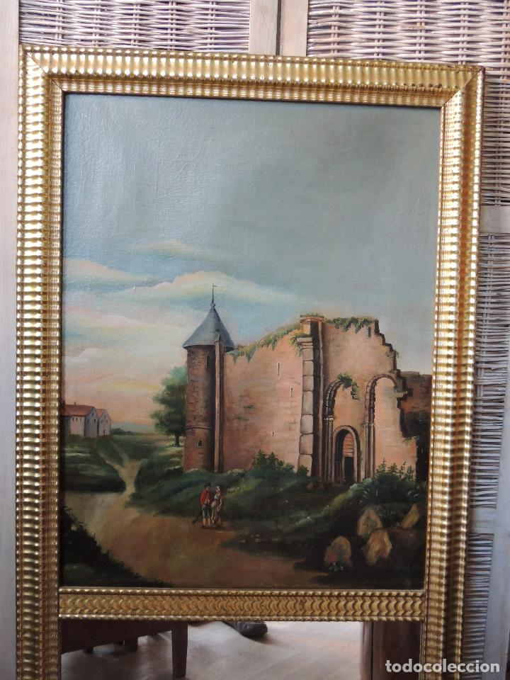 Antigüedades: PRECIOSO TRUMEAU ANTIGUO OLEO SOBRE LIENZO MARCO ORO FINO - Foto 2 - 92717015