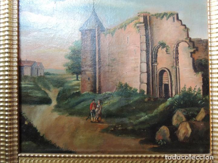 Antigüedades: PRECIOSO TRUMEAU ANTIGUO OLEO SOBRE LIENZO MARCO ORO FINO - Foto 5 - 92717015