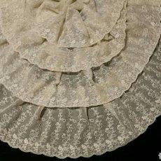 Antigüedades: ELEGANTE BLONDA ANTIGUA DE TUL BORDADO. Lote 92814778